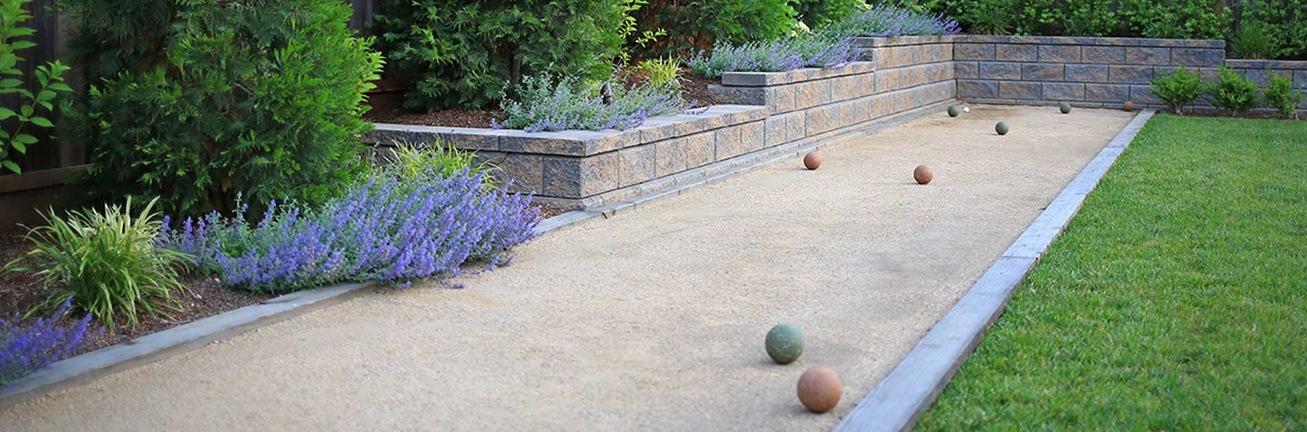 Bocce ball court and landscaped yard